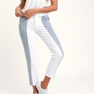 """LEVI""""S 501 colorblock cropped jeans blue white 28"""